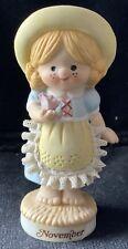 Vintage November Girl, Enesco 1981 Figurine Collectible