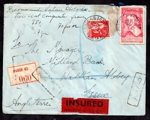 France 1935 Insured Registered cover Paris to Waltham Abbey UK wax seals WS11322