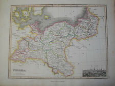 1819 MAP OF PRUSSIA BY JAMES WYLD & ENGRAVED BY HEWITT   ORIGINAL HAND COLOURED