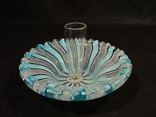 UNUSUAL MURANO VENETIAN LATTICINO ART GLASS DISH w/ CLEAR BUD VASE CENTER