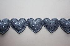 2 Metres x 10mm wide SILVER GREY PADDED HEART RIBBON  -  BABIES BRIDAL CRAFT