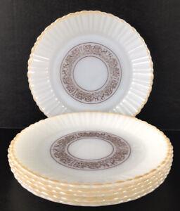 "Vintage Milk Glass Lunch Plates 9"" Termocrisa Set Of 6 Peach Luster Rim"