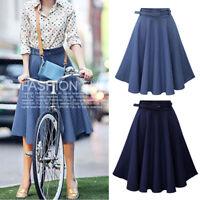 Women's Jeans A-line High Waist Long Midi Denim Flare Party Skater Skirt Dress
