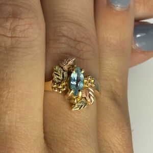 Blue Topaz Black Hills Gold Ring - 10K Multi Color Gold - Size 7