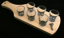 Darts Set of 6 Shot Glasses with Wooden Paddle Tray Holder 99