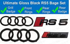 Audi RS5 + Rings Gloss Black Grille & Boot Badge Emblem Set - Full Black Out Set