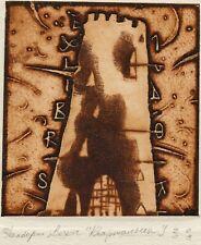 Vladislav Kvartalny, Belarus, Original Ex libris Bookplate Etching