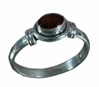 Handmade 925 Solid Sterling Silver Ring Natural Garnet Stone US Size 6.75 R1211