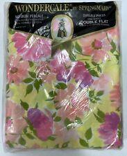Vintage Wondercale Springmaid Full Flat Sheet Set Pink Floral USA made * NEW