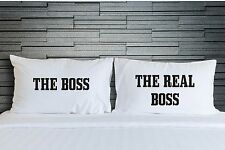 Pillowcases Boss Real His Hers Funny Bedding Adult Novelty Bedroom Gift WSD764