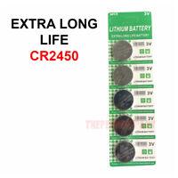 5 PACK Super Fresh Long CR2450 ECR 2450 3v LITHIUM Coin Cell Battery Exp. 2029