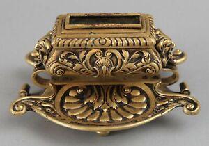Antique 19thC Victorian Gold Dore Bronze Gothic Gargoyle Devil Head Match Safe