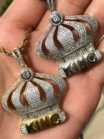 Men/'s Ice Out Created Diamond 14k Gold Finish NARUTO Pendant Rope Chain Italy