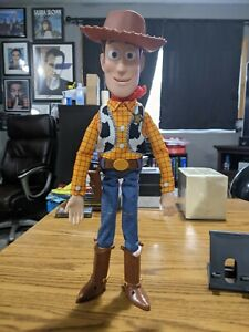 """Toy Story push buttons Talking Woody Doll Thinkway Disney Pixar 15"""" Inch w/ hat"""