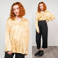 VINTAGE WOMENS GOLD SHINY BLOUSE OPEN COLLAR SHIRT ORIENTAL OVERSIZE CUTE 18