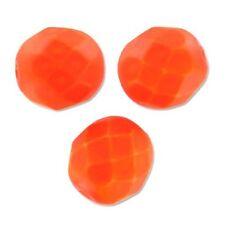 50 Perles Facettes boheme 4mm - NEON ORANGE MAT - ORANGE FLUO