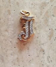 "14K TWO TONE OLD ENGLISH INITIAL ""J"" PENDANT WITH 0.15 cts Diamonds On SALE!"