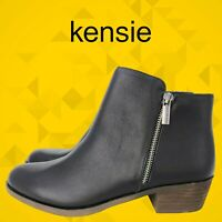 KENSIE Women's Black Leather Ghita Short Ankle Boots 6.5/7/7.5/8/8.5/9/10