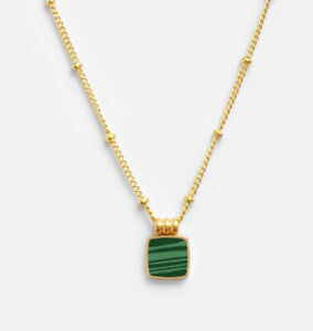 Gold Stainless Steel Malachite Necklace