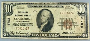 1929 $10 National Currency * Peoples Bank Claremont New Hampshire NH * #4793