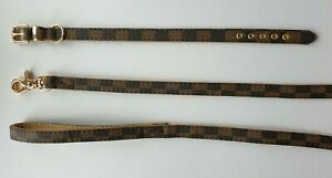 Brown Check Designer Inspired Faux Leather Dog Collars & Leads in XS-L sizes