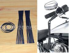 "2pcs Black Leather Motorcycle Brake Lever Covers Biker Clutch 12"" Fringe Tassels"