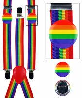 Rainbow Gay LGBT Pride Braces Suspenders Carnival Fancy Dress Costume + 2 BADGES