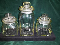 CANISTER SET OF ( 3 ) SLIGHT GREENISH TINT CLEAR GLASS APOTHECARY LID ( AIR TIGH