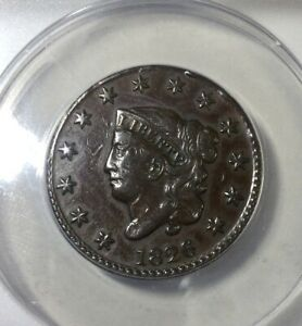 1826 Large Cent Pleasing ANACS VF 30 Straight Grade Glossy Mid Brown Nice Coin
