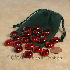 NEW 20 Red Glass Gaming Stones & Bag Set RPG Game D&D Hit Point Markers Counters