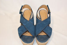 Franco Sarto Suede or Leather Slingback Strap Wedges - Taylor 6 MEDIUM TEAL PO