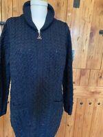 Aran Craft Merino Wool Zip Front Cardigan With Back Pleat Blackwatch Size Small