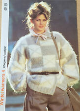 VINTAGE KNITTING PATTERN Femmes à damiers Patterned Cardigan Veste 1986 PHILDAR