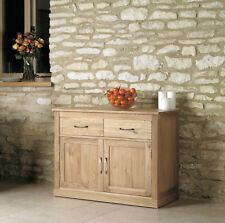 Mobel Solid Oak 2 Door 2 Drawer Small Sideboard Compact Wooden Storage Cabinet