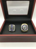 2 Pcs Richards and Hedman Tampa Bay Lightning Championship Ring with Wooden Box