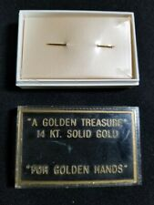"14K Solid Yellow Gold Sewing Needle & Box A Golden Treasure ""For Golden Hands"""