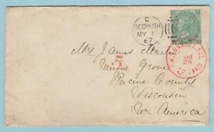 GREAT BRITAIN 38 ON COVER TO WISCONSIN INTERESTING !