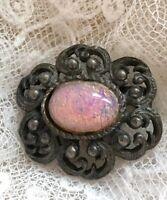 1950s Faux Opal Brooch Vintage Retro Old Metal Jewelry Pin Flower Jewellery