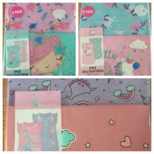 Baby Girls Shorts Sleeve 2 Pack Nightdress Pyjamas Unicorn Princess Dinosaurs