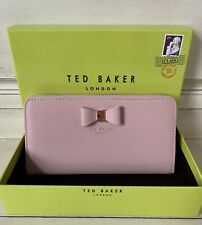 NWT GIFT BOXED Ted Baker London Peony Textured Leather Bow Matinee Wallet Lt Pnk