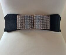 Grueso Elástico Cintura Cinturón Negro/Hebilla De Metal Dorado Con Cristal/elástico/27