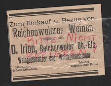 REICHENWEIER, Werbung 1912, D. Irion Weingutsbesitzer