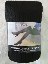 George Womens Herringbone Pattern Control Top Tights Black Size 2 NEW