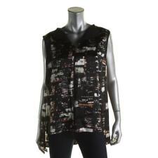 Lafayette 148 New York 4917 Womens Black Silk Sleeveless Blouse Top L BHFO