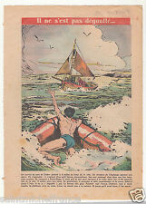 SOS Bateau Canot Pneumatique Port du Crotoy Berck-Plage 1953 France ILLUSTRATION