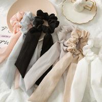 Solid Bow Ribbon Women Scrunchie Hair Band Elastic Rope Hair Ties Scarf Headband