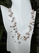 925 Sterling Silver Lavender Freshwater Pearl Floating Illusion Necklace