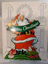 Vtg Barker Christmas Pop Up Santa Card Presrnts Chimney 1951 Cincinatti Ohio