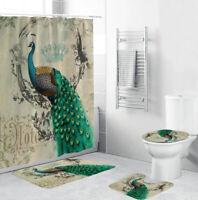 Peacock Bathroom Rug Set Shower Curtain Thick Bath Mat Non-Slip Toilet Lid Cover