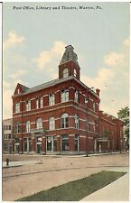 Post Office, Library and Theatre in Warren PA Postcard 1911